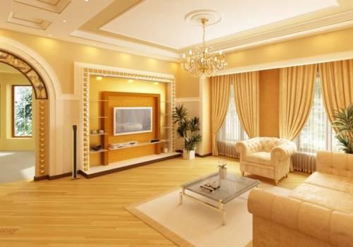 дизайн гостиной с электрокамином